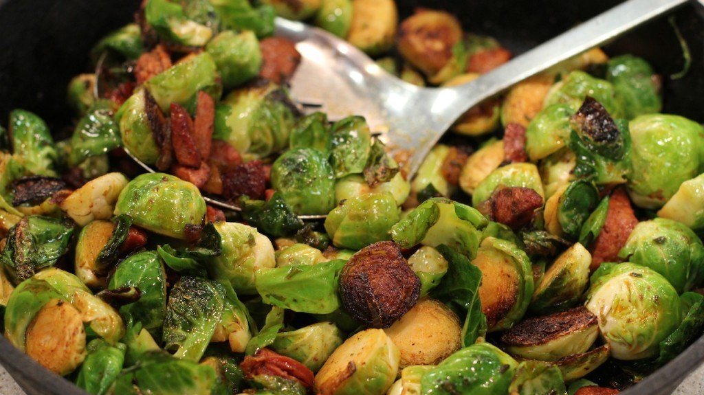 Smokey Brussels Sprouts with Chorizo